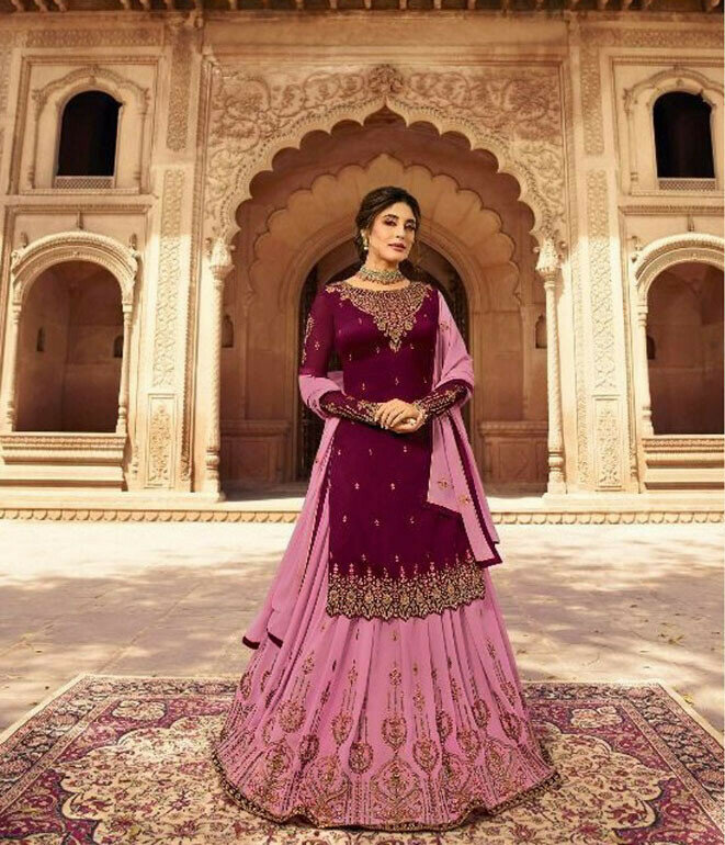 Pink Color Stylish Georgette Lehenga With Embroidery Work Top