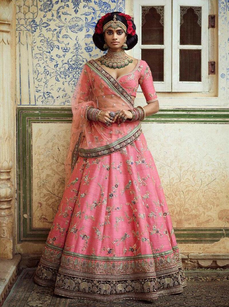 Pink Colored Wedding Wear Embroidered Silk Lehenga Choli