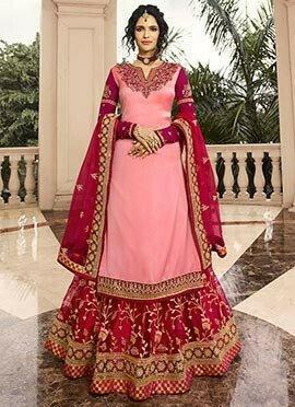 Pink Embroidered Long Choli Lehenga