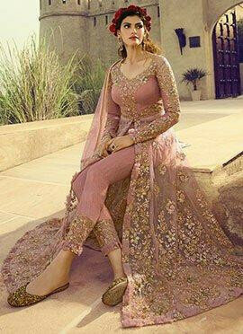 Pink Embroidered Net Abaya Style Anarkali Suit