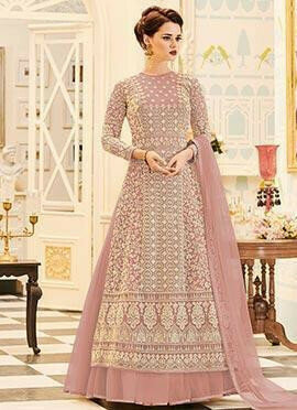 Pink Layer Embroidered Abaya Style Anarkali Suit