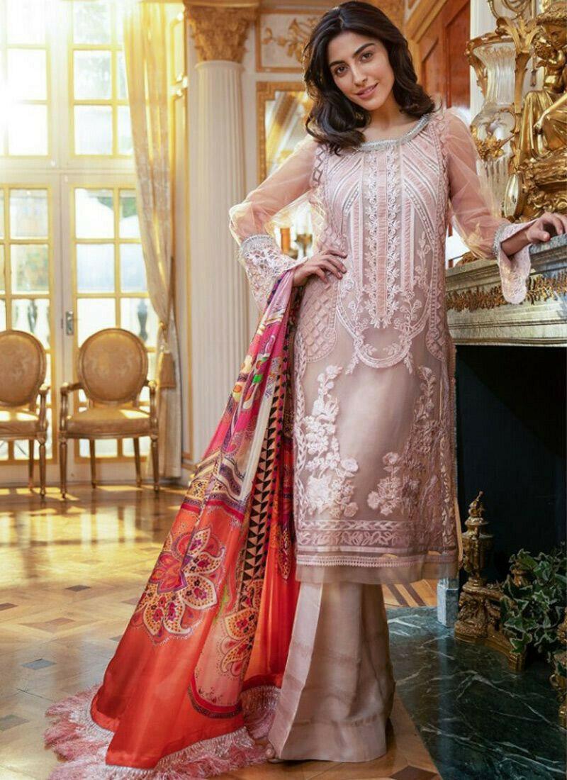 Pink Organza Tissue Embroidered Staraight Pakistani Salwar Kameez For Eid