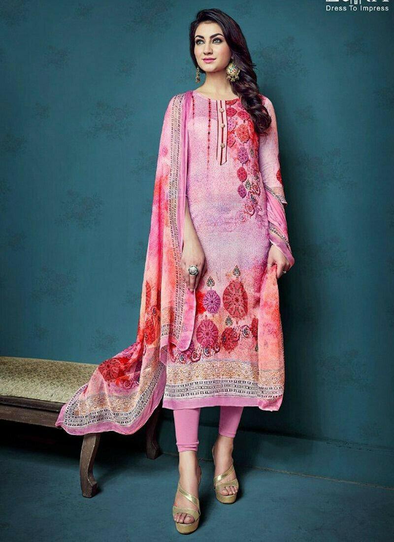 Pink Satin Cotton Digital Printed Designer Straight Cut Suit