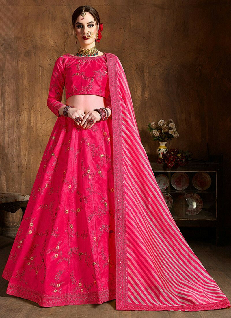 Pink Silk Wedding Wear Embroidery Work Lehenga Choli