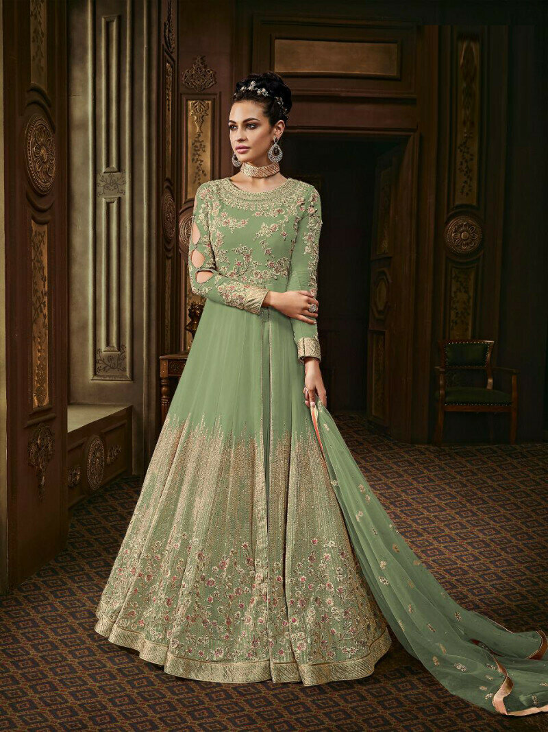 Pista Color Heavy Embroidery Work Suit With Heavy Dupatta