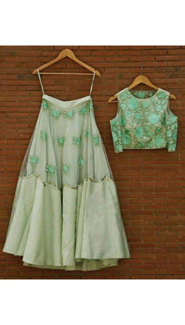 Pista Green Embroidery Designer Lehenga (Semi-Stitch)