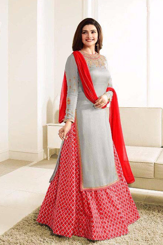 Prachi Desai  Grey And Red Sarara Suit�