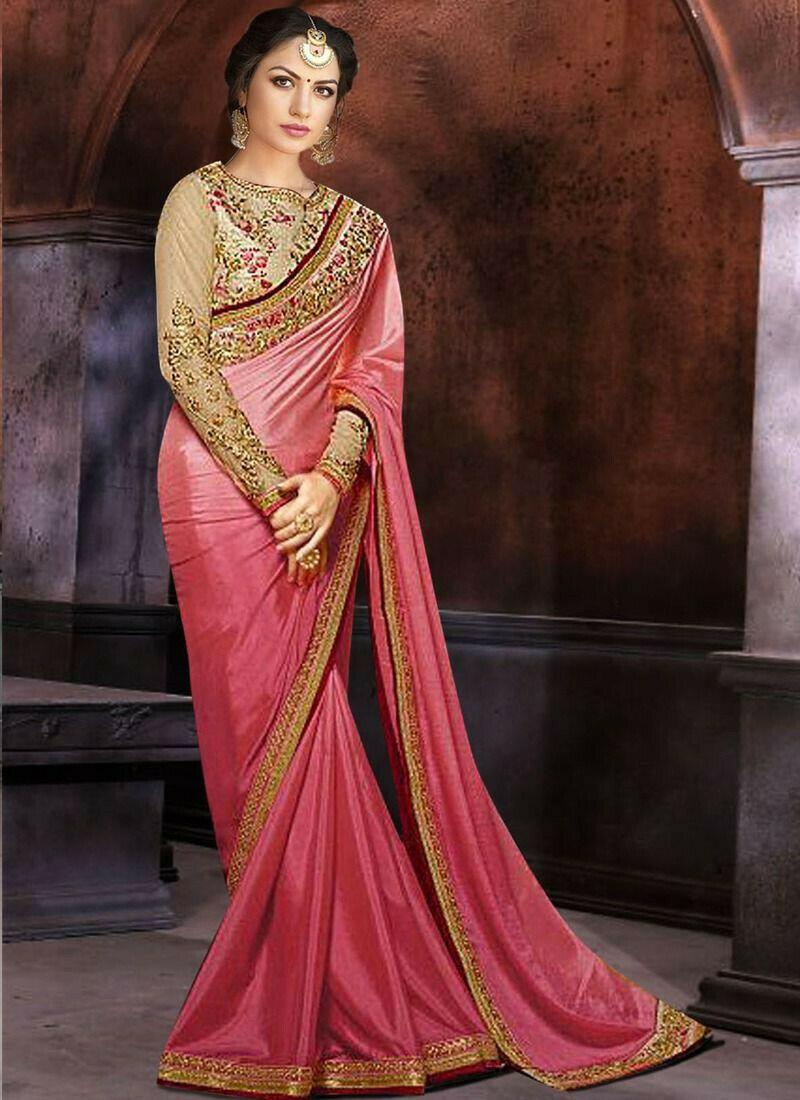Prachi Desai Bollywood Repilca Baby Pink Moss Chiffon Pedding Georgette Designer Saree