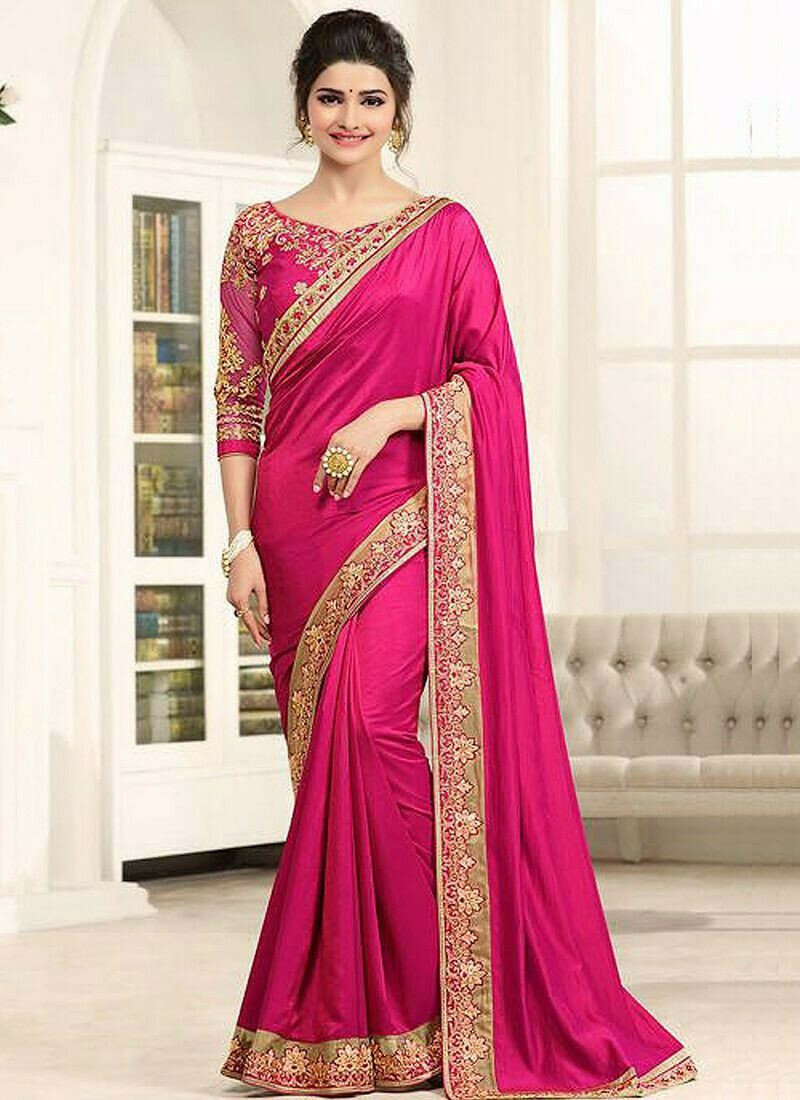 Prachi Desai Bollywood Repilca Rani Paper Silk Designer Saree