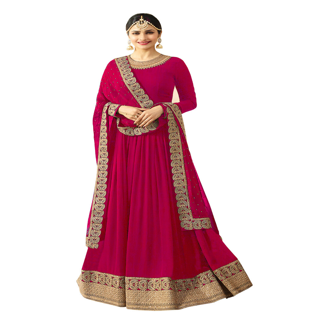 Prachi Desai Designer Faux Georgette Pink Heavy Embroidered Salwar Suit