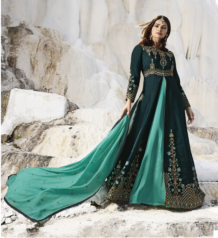 Prachi Desai Satin Viscos Dark Green Embroidered Semi Stitched Long Anarkali Suit