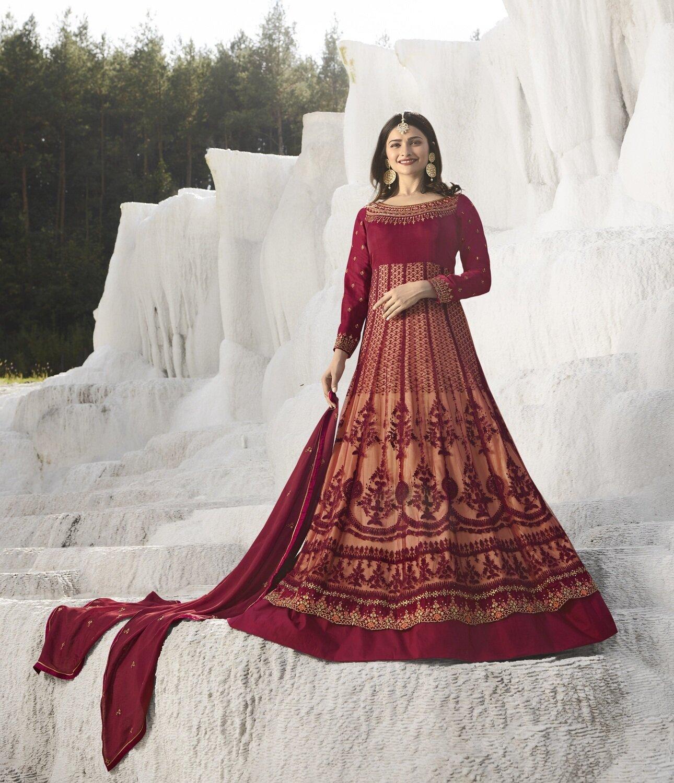Prachi Desai Yellow Nylon Net Embroidered Semi Stitched Long Anarkali Suit