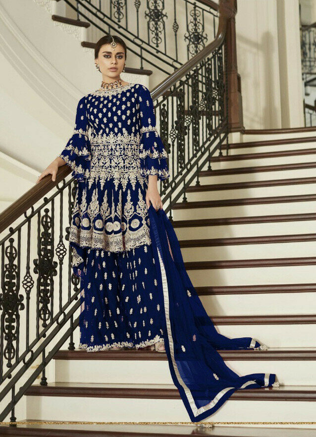 Pretty Blue Colored Embroidery Work Salwar Palazzo Suit