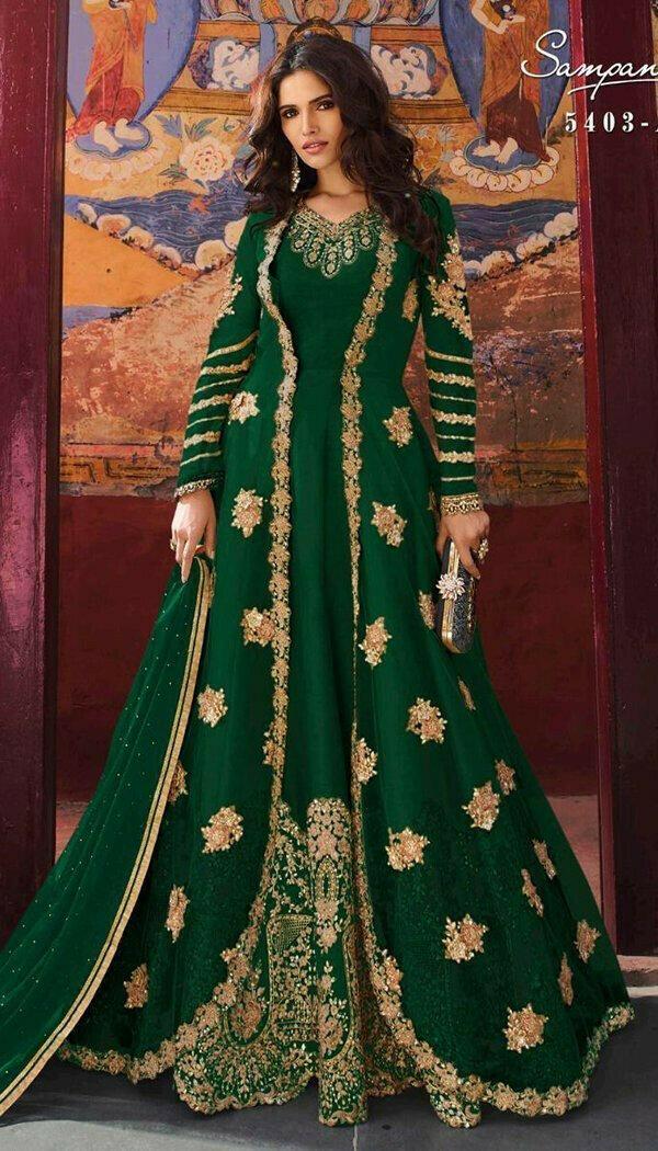 Pretty Green Colored Embroidary Work Semi-stitch Ethnic Wear Salwar Suit