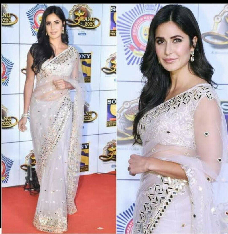 Pretty White Net With Mirror Embroidered Work Designer Saree