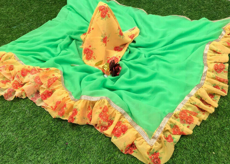 Printed Ruffle Zalar andlace Designer Saree (Green)