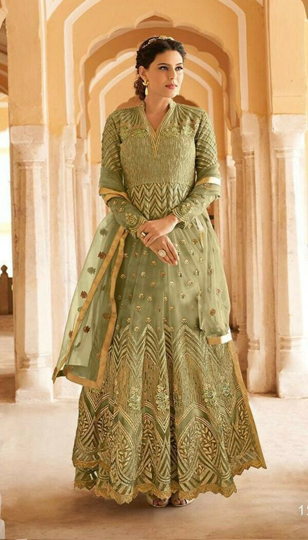 Prominent Pista Colored Western Look Net Embroidary Semi-stitch Gown