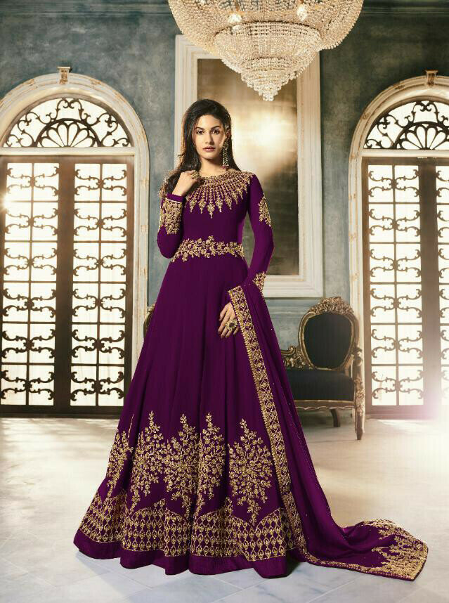 Purple  Colored Bollywood  Anarkali  Suit With  Embroidery Work