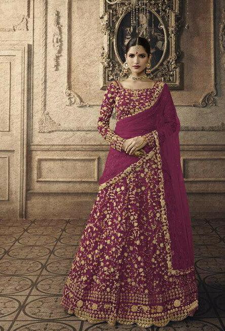 Purple Colour Brideal Wear Lehenga Choli