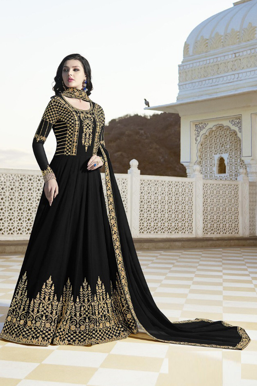 Raazi Fox Georgette Black Color Party Wear Suit