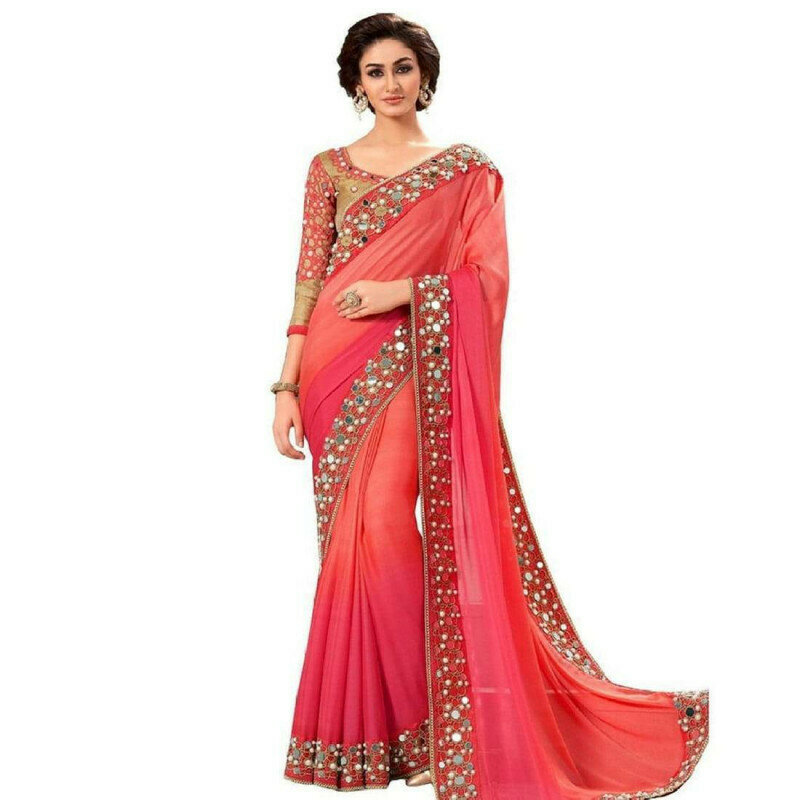 Radiant Pink Georgette With Lace Glass Mirror Work fancy designer saree