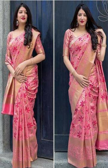 Radient Pink Color Soft Silk Designer Saree