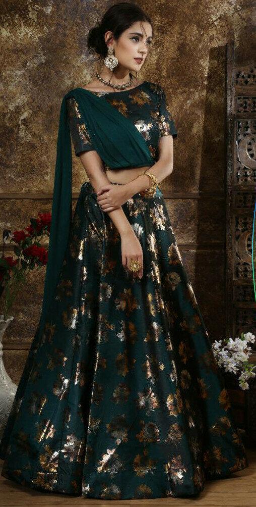 Rama Color Party Wear Beautiful Lehenga Choli