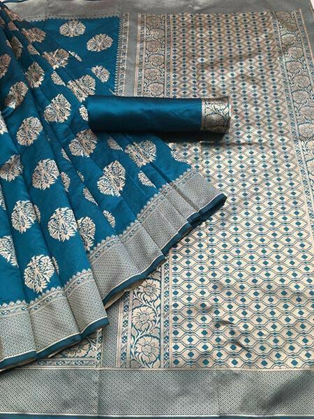 Rama Colour Kora Silk With Jequard design Traditional Saree