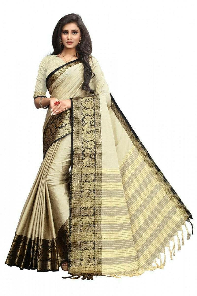 Ravishing Cream & Black Poly Cotton With Rich Pallu Designer Saree