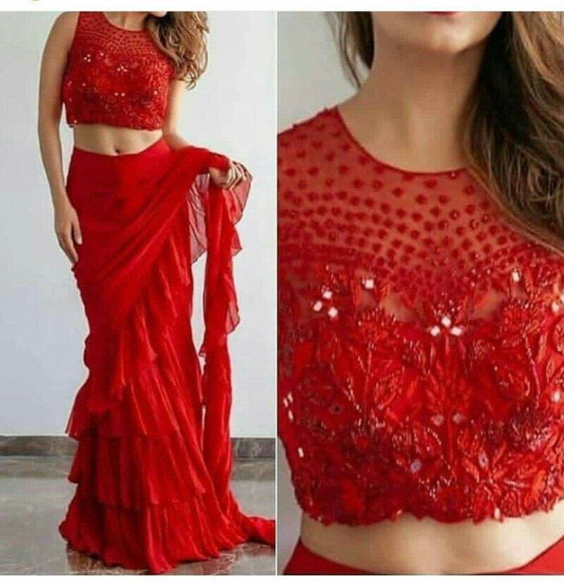 Red Color Designer Saree