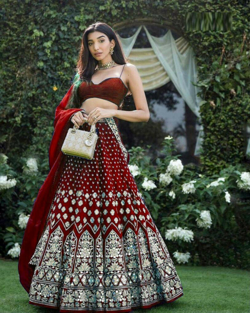 Red Color Party Wear Lehenga Choli In Online