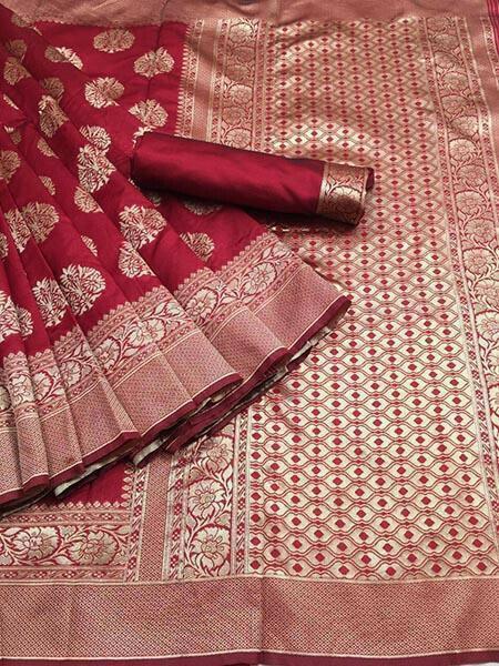 Red Colour Kora Silk With Jequard design Traditional Saree