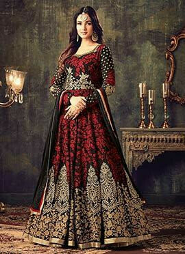 Red N Black Georgette Abaya Style Anarkali Suit