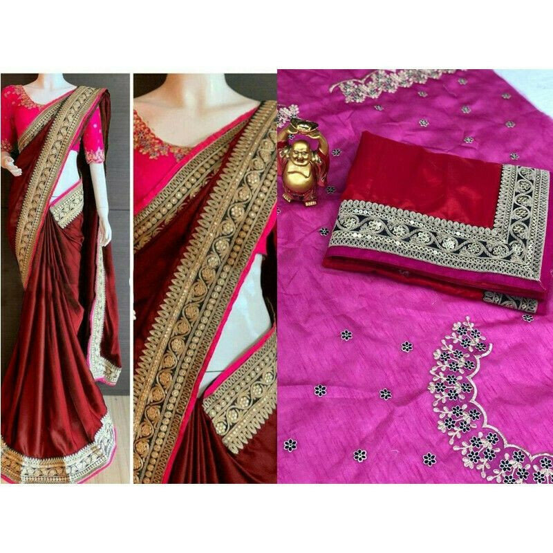 Red Paper Silk Fancy Saree Collection