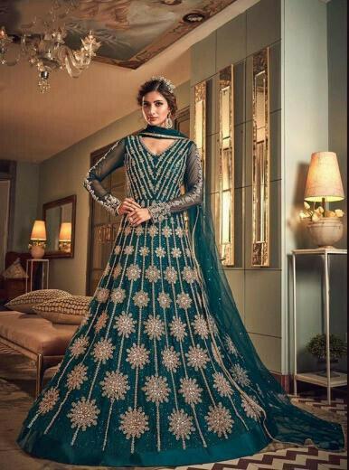 Refreshing Party Wear Teal Rama Green Anarkali Suit