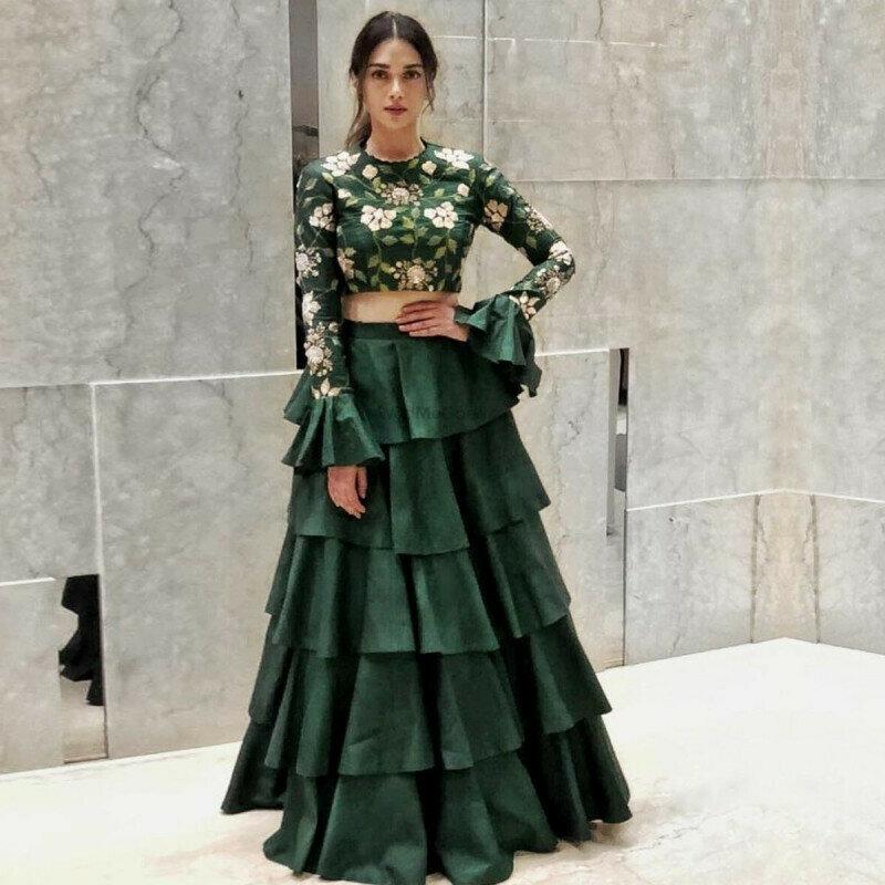 Refreshing Turquoise Green Colored Partywear Designer Embroidered Banglori Silk Lehenga Choli