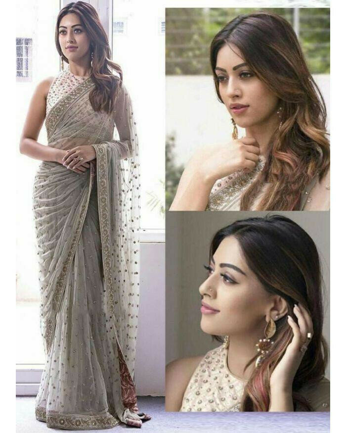 Richa  Gangopadhyay  Sequance & Fancy Thread Work Designer Saree (Gray)