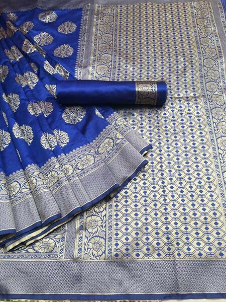 Royal Blue Colour Kora Silk With Jequard design Traditional Saree