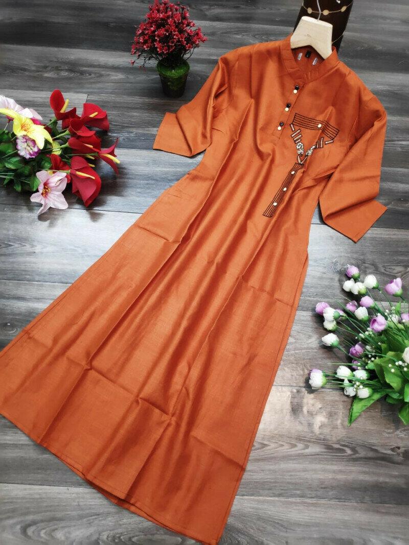 Rubby Cotton Orange Stitch Gown