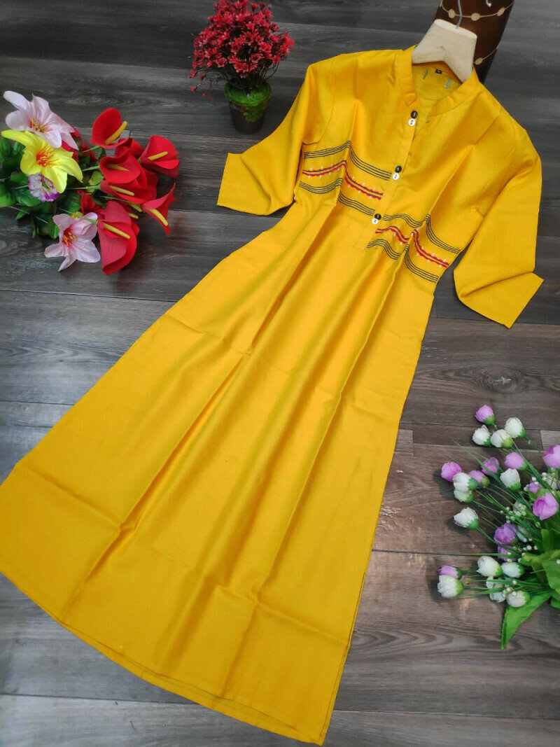 Rubby Cotton Yellow Stitch Gown