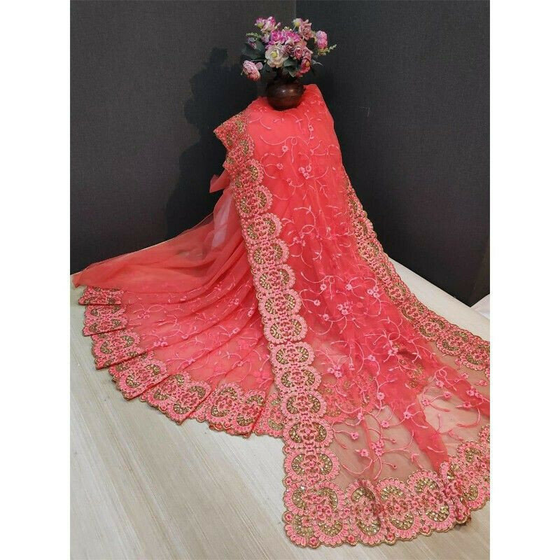 Salmon Pink Party Wear Latest Designer Fancy Saree Collection