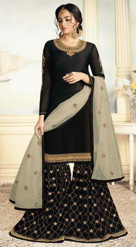 Sensational Fancy Black Color Sharara Suit