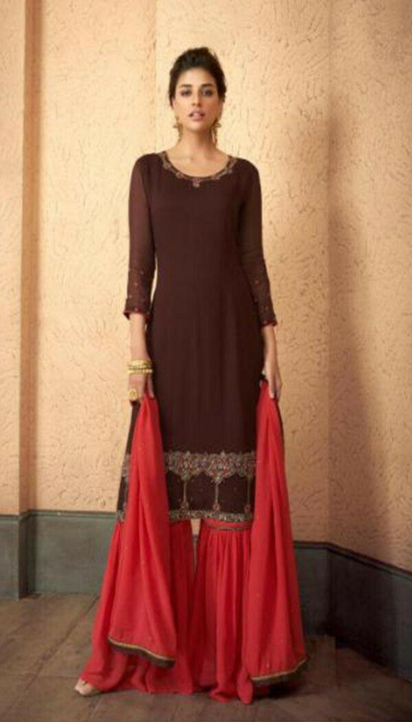 Sensetional Orange Colored Reyon Embroidary Work Sharara Suit