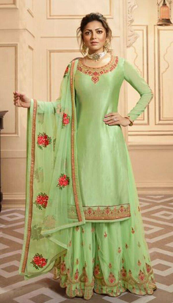 Sensetional Pista Colored Silk Embroidary Work Plazzoo Salwar Suit
