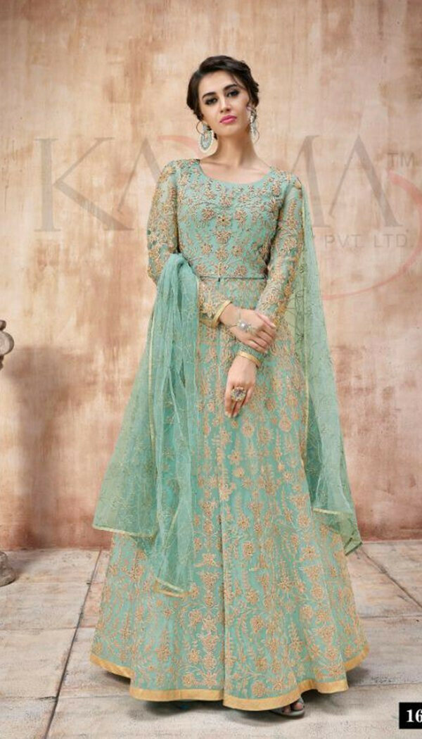 Sensetional Skyblue Colored With Net Embroidary Semi-stitch Suit