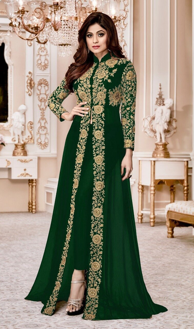 Shamita Shetty Green Color Heavy Designer Suit