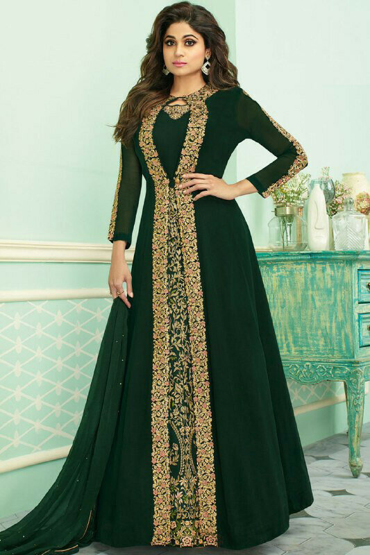 Shamita Shetty Style Dark Green Color Fancy Anarkali Suit