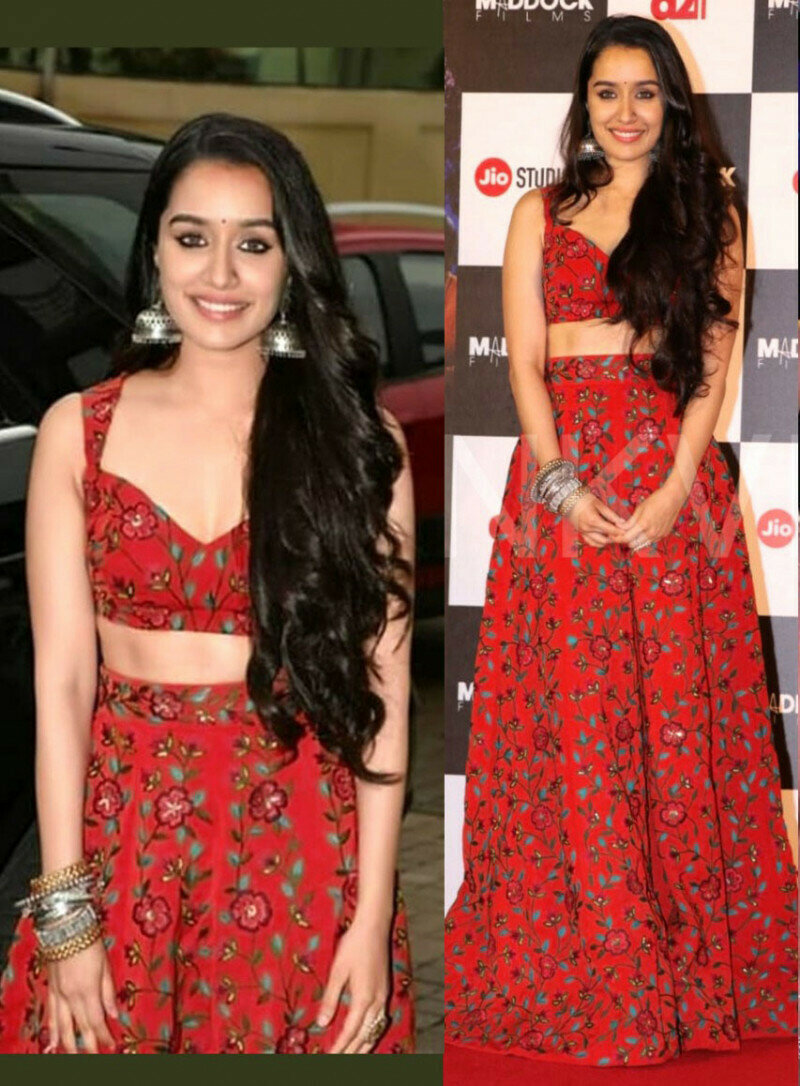 Shraddha Kapoor Party Wear Red Color Bollywood Lehenga Choli