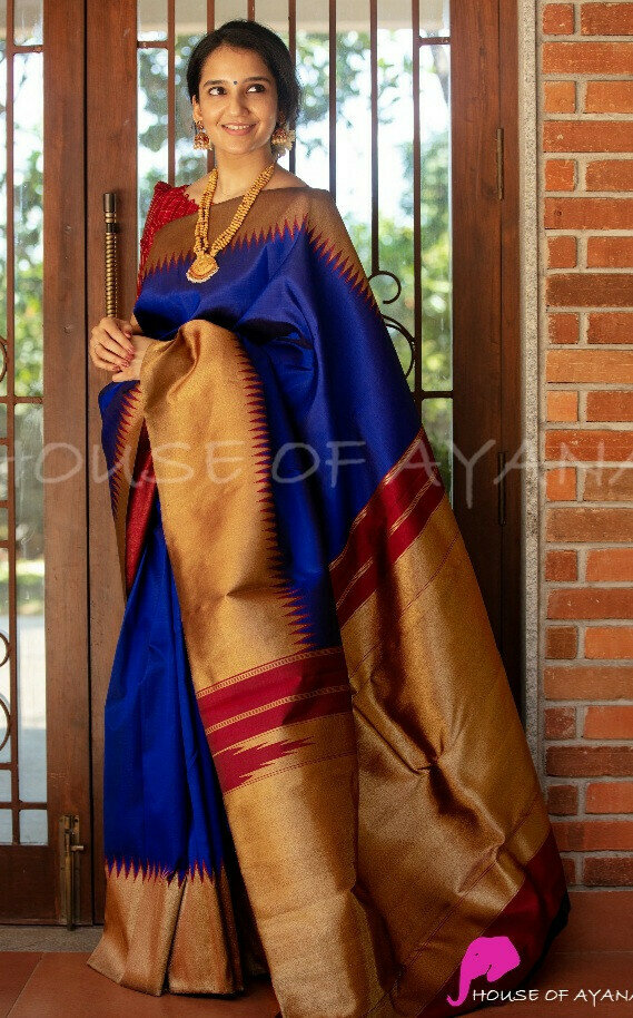 Simple Blue Saree For Girls