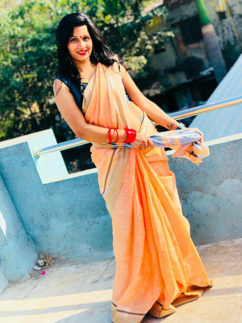 Simple Light Orange Saree